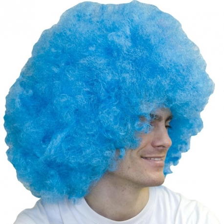 Perruque super big afro bleue