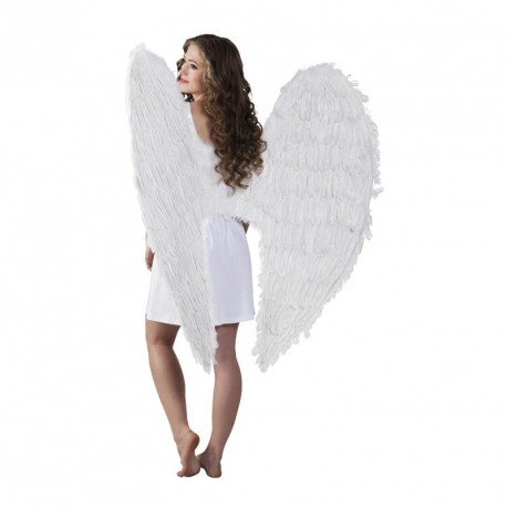 Maxi ailes d'ange plumes blanches 120 x120 cm